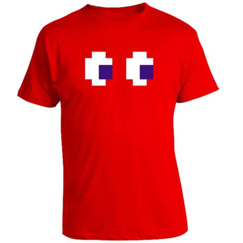 Camiseta Pacman Comecocos Fantasma Rojo