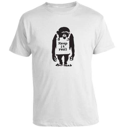 Camiseta Banksy -  Keep it real monkey meaning