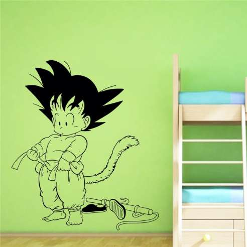 Vinilo Adhesivo Dragon Ball Son Goku Vistiendose